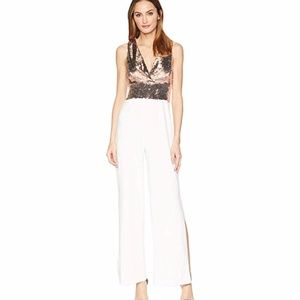 ALEXIA ADMOR Mixed Sequin Split-Hem Jumpsuit